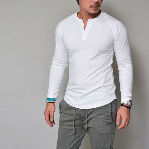 5b9c3668 Fashion Mens Slim V Neck Long Sleeve Muscle Shirt Stylish New Males Casual  Fit Tops Blouse