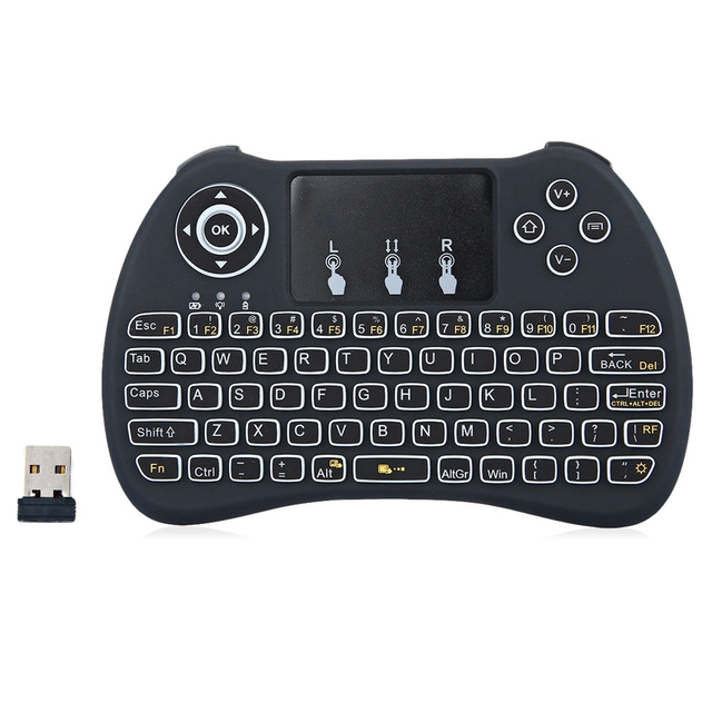 H9 Mini Hand-held2.4GHz  Wireless QWERTY Mini Game Keyboard Air Mouse Combo with Backlight for Smart TV Box  Tablet PC Smart TV