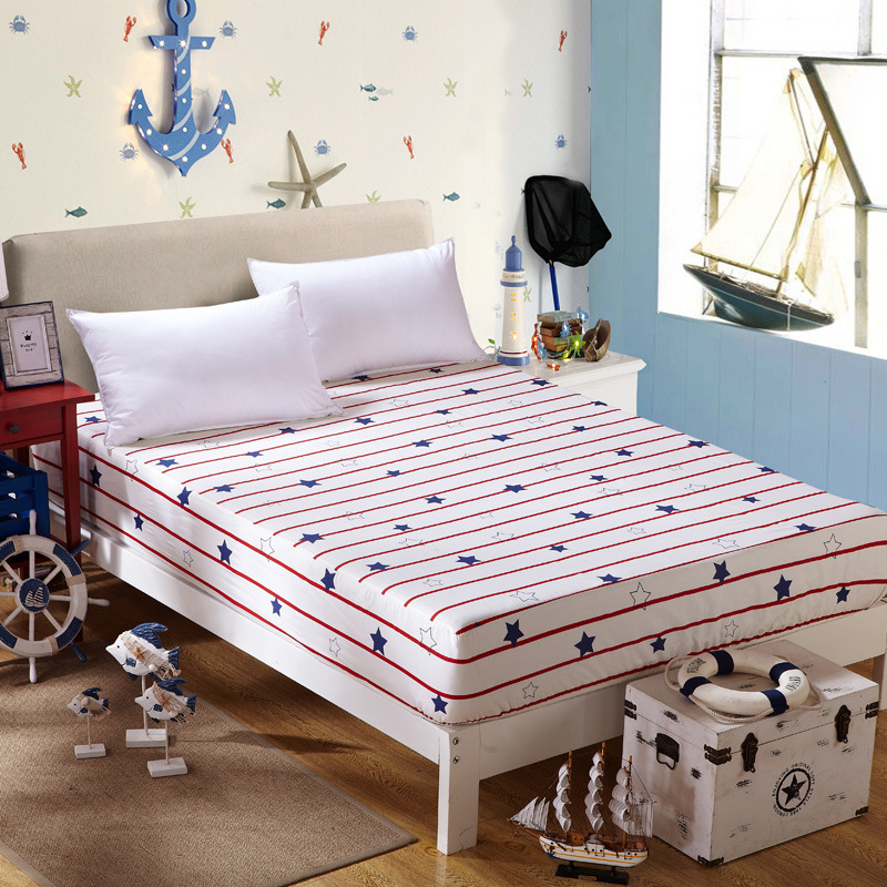 home textile 1pcs fitted sheet 100 cotton fabric plaidflower bed sheet mattress
