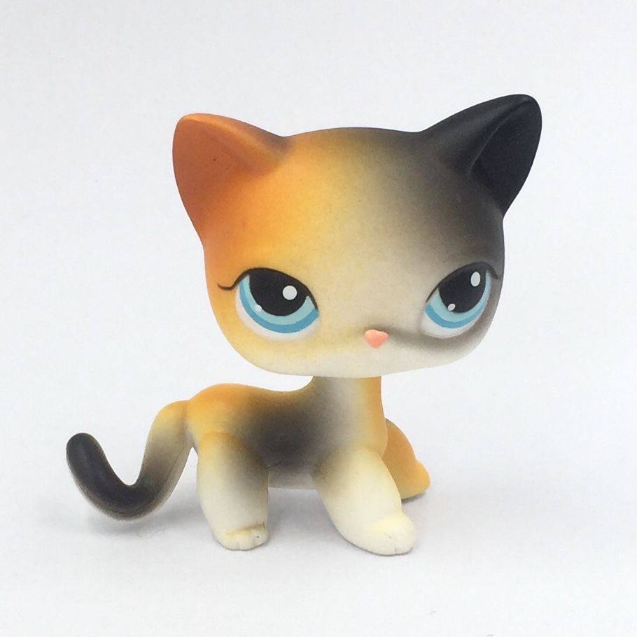 real rare short hair cat #106 orange & black standing original old pet shop lps toys kitty child toys gift 12pcs set children kids toys gift mini figures toys little pet animal cat dog lps action figures