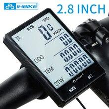 INBIKE 2.8 ''большой Экран велосипедов компьютер Беспроводной велокомпьютер непромокаемые Спидометр пробега Велоспорт измеримым секундомер