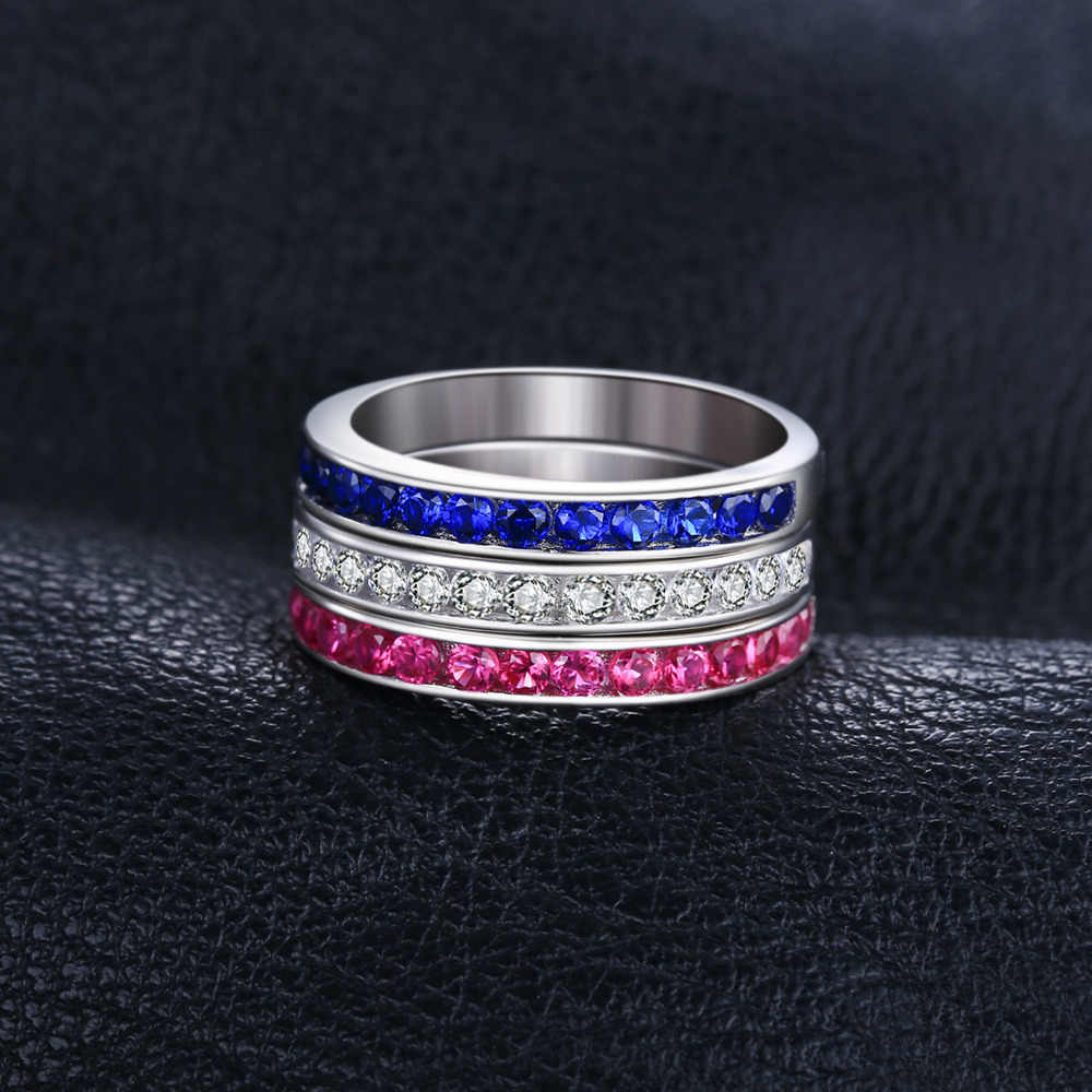 8dc09b6bee ... JewelryPalace three stack 1.8ct Round Created Ruby Sapphire Wedding  Cocktail Band Eternity Ring 925 Sterling ...