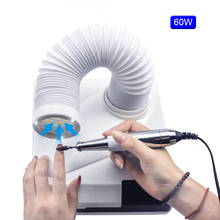 60w 4500rpm Strong Power Nail Suction Duct Collector vacuum cleaner for manicures retractable elbow dust cleaner
