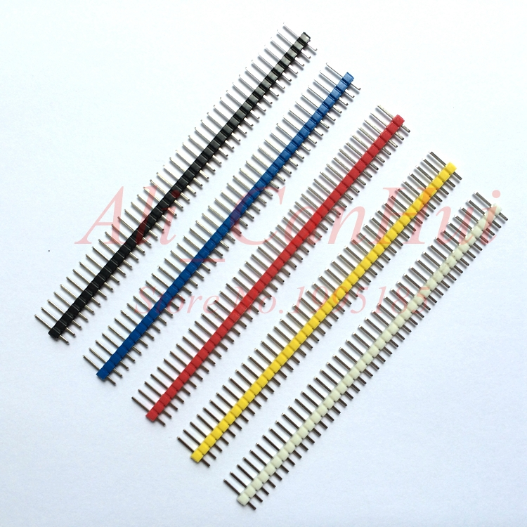 10pcs/lot 2.54mm Black + White + Red + Yellow + Blue Single Row Male 1X40 Pin Header Strip Single needle