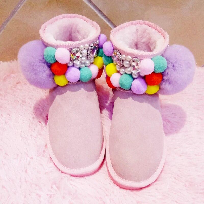 Neue Weiblichen Australian Farbe Haar Candy Schnee Rosa Schneeschuhe Niedrigen Ball Handgemachte Stiefel Leder Dicke Winter wZqZAx