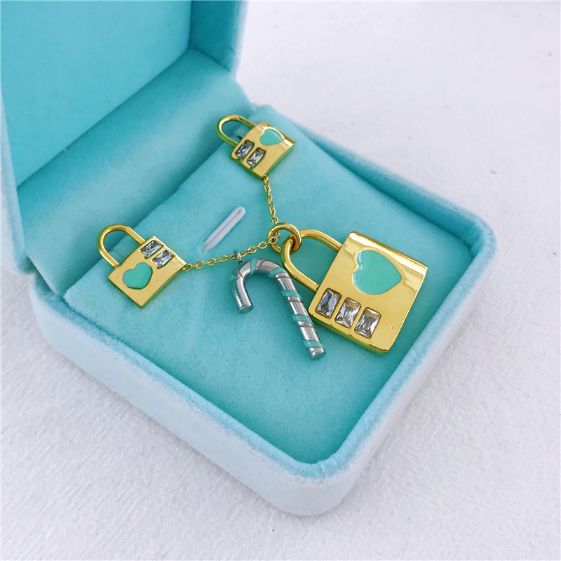 Women Jewelry Gold Silver Color PadLock Pendant Necklace <font><b>Earings</b></font> Brand New Stainless Steel Set Key <font><b>Heart</b></font> Necklace Party Gifts image