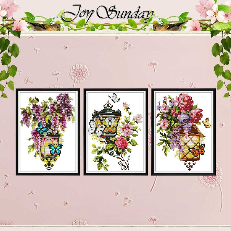 Light Of Hope Fascination Flower Counted 11CT 14CT Cross Stitch Set DIY DMC Cross-stitch Kit Embroidery Needlework Home Decor