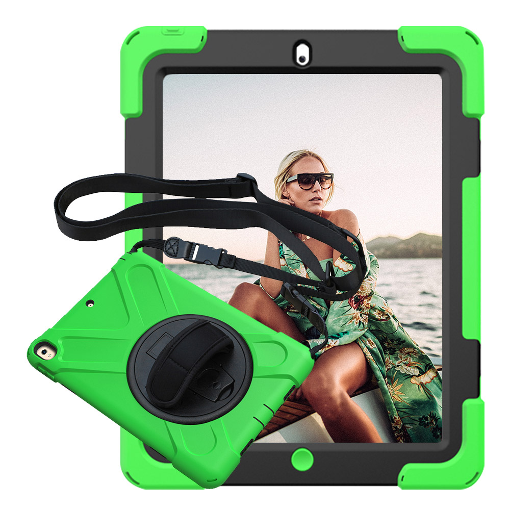 For iPad 2 3 4 Pirate Tablet Case Cover Kids Safe Shockproof Heavy Duty Silicone+PC Kickstand Case With Wrist + Shoulder Strap