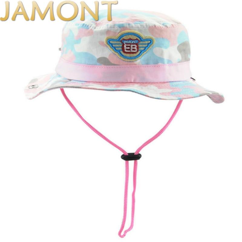 [JAMONT]Children Camo Summer Beach Hats With String Kids Wide Brim Camouflage Bucket Hat For Baby Girl Boy Fishing Panama Gorras