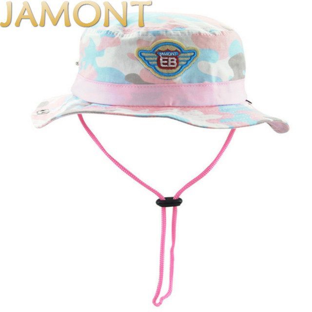 2fae3d8eb2b  JAMONT Children Camo Summer Beach Hats With String Kids Wide Brim  Camouflage Bucket Hat For Baby Girl Boy Fishing Panama Gorras