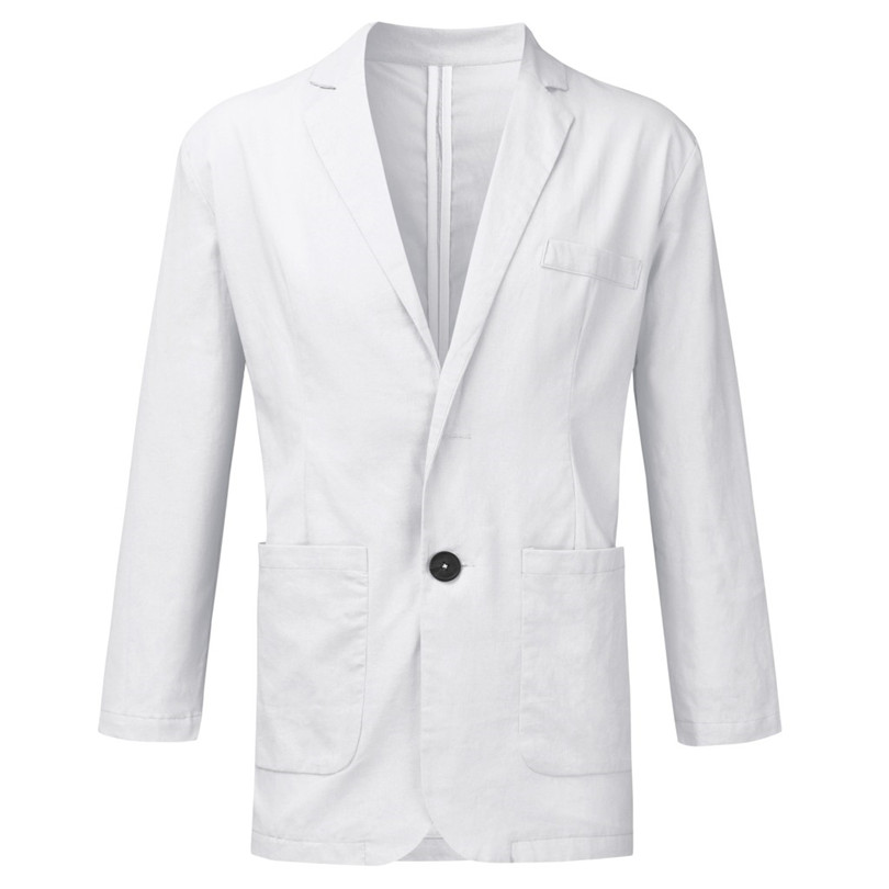 New 2019 Summer Men Slim Fit Linen Blend Casual Blazer Pocket Solid Long Sleeve Suits Blazer Jacket Outwear #E09 (29)