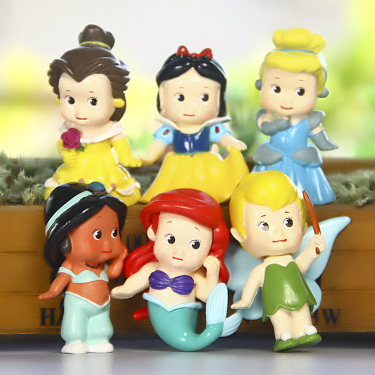 Disney Toys 6pcs/Set Cute Mini Princess Snow White Mermaid PVC Action Figures Cinderella Figurines Collectible Dolls Kids Toys 8 pcs set queen princess cinderella elsa anna little mermaid snow white alice princess pvc figures toys children gifts