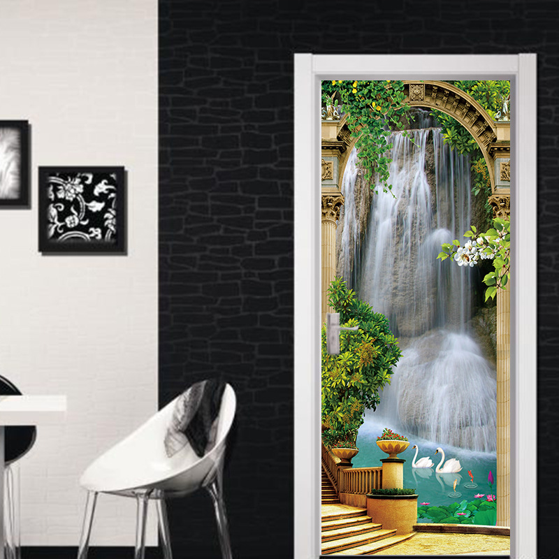 Image 5 - Scenic Door Murals Forest Wall Mural Door Decals Door Wall Sticker Waterfall Mural Door Wall Stickers Wallpaper Mural DIY Home-in Wall Stickers from Home & Garden