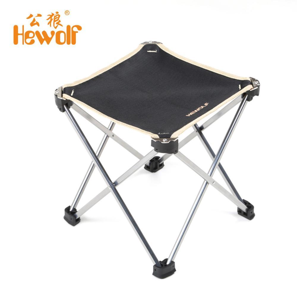 Hewolf Outdoor Folding Fishing Aluminium Alloy Tripod <font><b>Chair</b></font> Portable Picnic Garden BBQ Seat Beach Square Camping Hiking Stool
