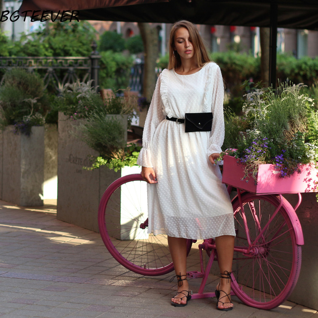 BGTEEVER Ruffles Polka Dot Women Chiffon Dress Elastic Waist Flare Sleeve Female Long Vestidos A-line White Dress 2019 3