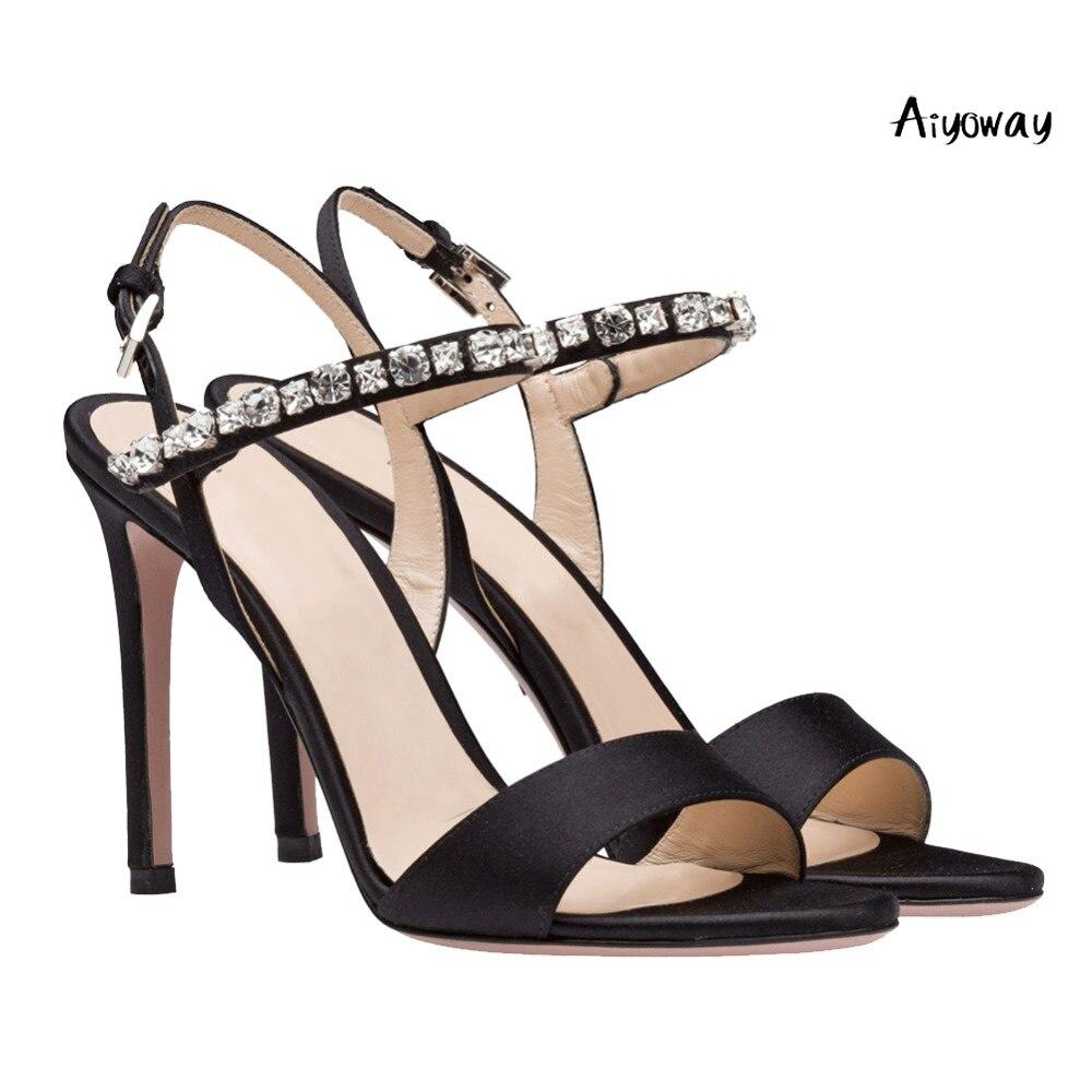 Aiyoway 2019 Spring Women Shoes Peep Toe High Heels Sandals Ladies Wedding Party Dress Black Satin Crystal Ankle Strap