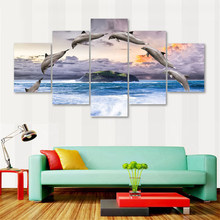 Modern Prints Home Decoration Modular 5 Pieces Animal Dolphin Pictures Poster Wall Art Canvas Painting Ocean For Gift Artwork(China)