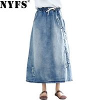 NYFS 2019 New Summer Vintage women long denim skirt embroidered long skirts vintage jeans Elastic waist pencil skirts