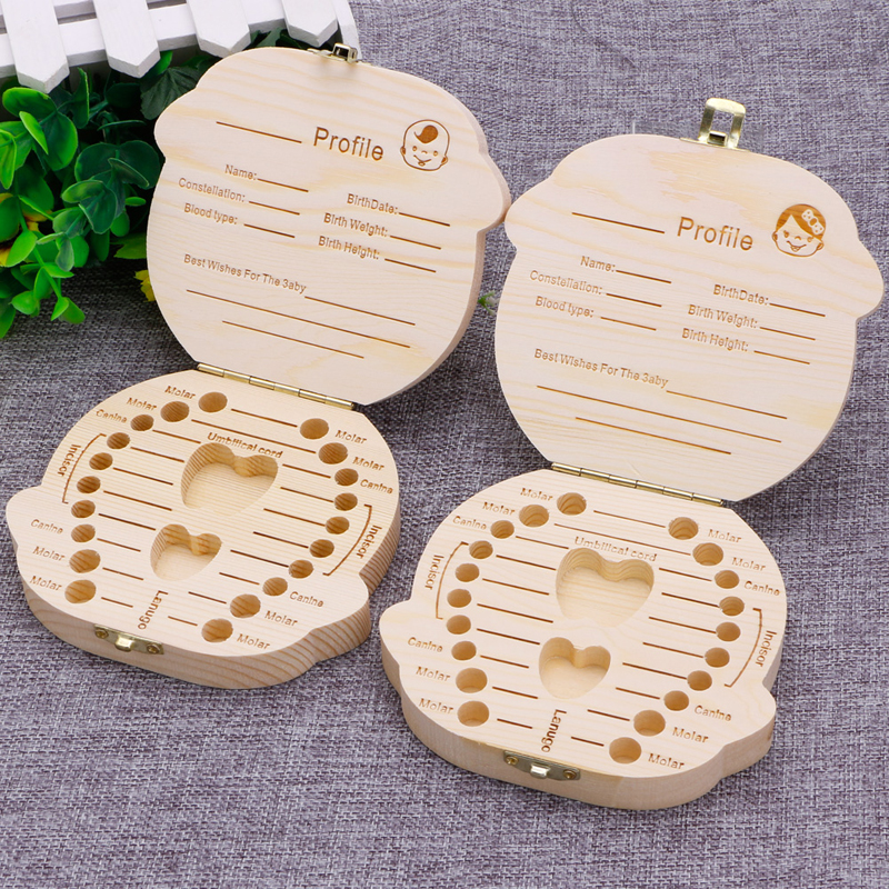Kids Tooth Box Organizer Baby Save Milk Teeth Wood Storage Box For Boy/Girl