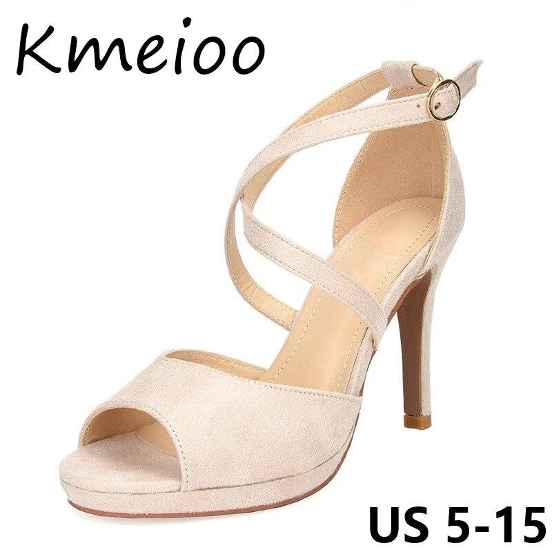 Kmeioo chaussures de femme Peep Toe Sandales Cheville Strap Med Talons Croix Liée Chaussures Dames robe de bureau Chaussures d'été femmes sandales