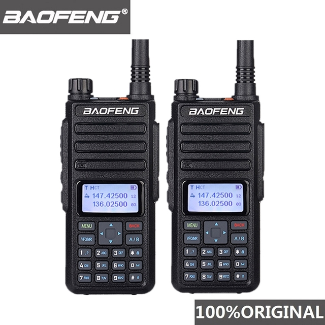 2個baofeng DM 1801 oreilletteトランシーバーデュアル時間スロットVHF136 174MHz uhf 400 470mhzアナログdmrラジオdm 1801ラジオ局