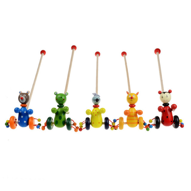 Детские игрушки Ребенка Соагент Малышей дети Деревянные Головоломки Игрушки Тележки Мультфильм Ребенка Положить Животных Деревянные Тележки