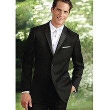 Black Wedding Suits For Men White Vest Men Tuxedos Notched Lapel Men Suits Slim Fit 3 Pieces Two Buttons Men Suit (Jacket+Pants)