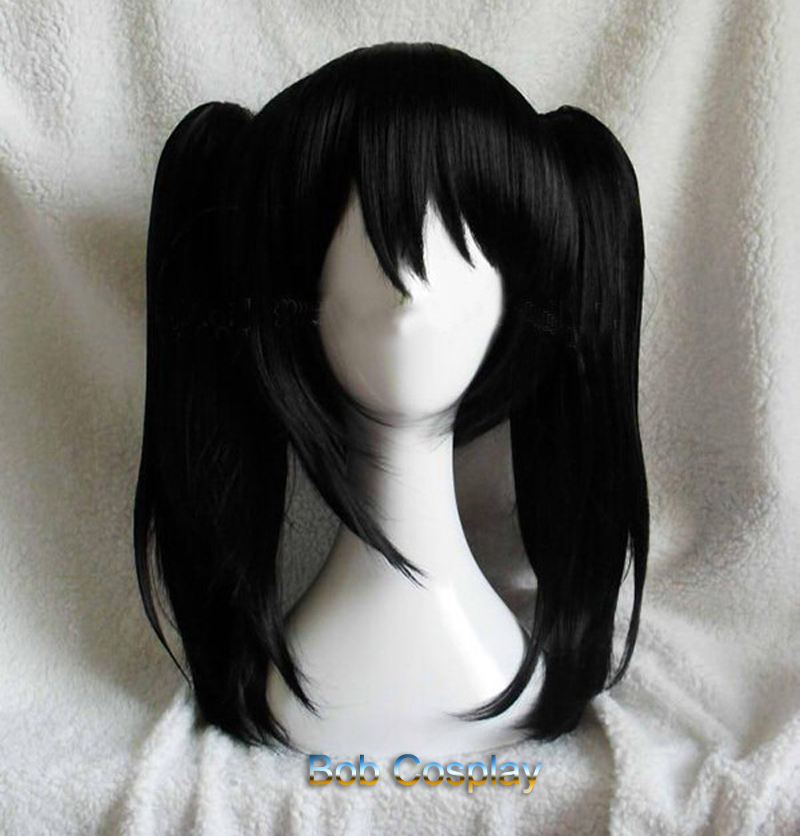 Anime LoveLive! Love Live Nico Yazawa Niko Short Black Ponytail Heat Resistant Hair Cosplay Costume Wig + Bow Hairpins