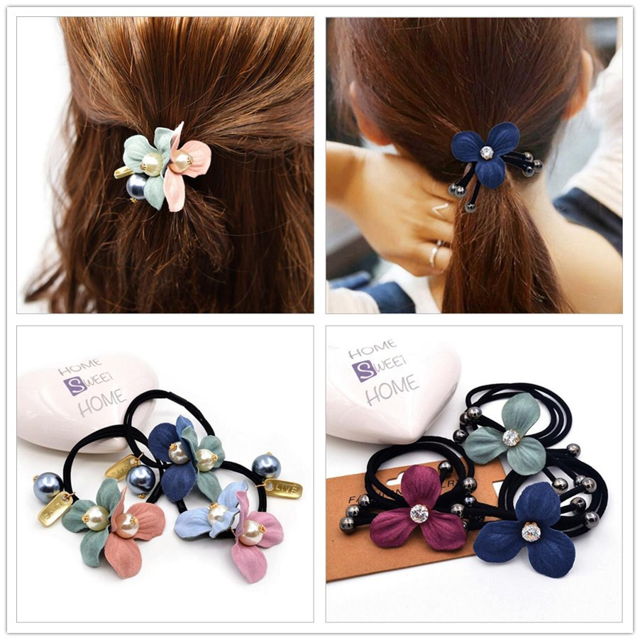Fashion Flower Elastic Hair Rubber Bands Ties Headwear Ring Rope Accessories For Women Girls Scrunchie Ponytail Holder Ornaments free shipping 10pcs lot new adult elastic hair bands women headwear for girls hair rope headbands accessories 14 colors 15cm