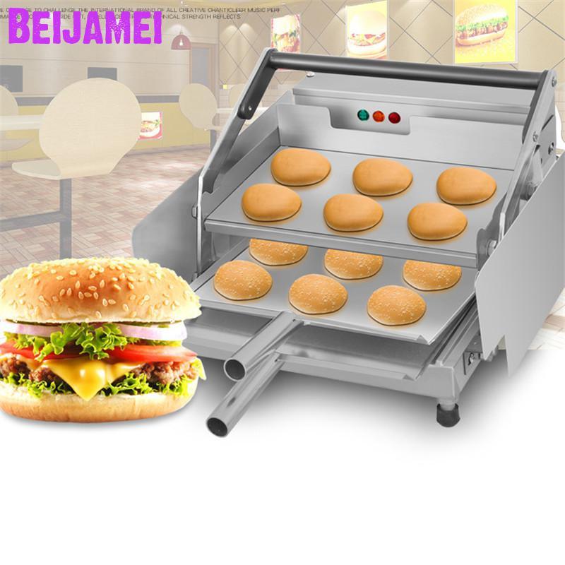 BEIJAMEI doppel schicht elektrische hamburger maschine kommerziellen hamburger gegrillte maschine kleine hamburger brötchen toaster