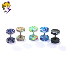 ФОТО candy color ear plugs dumbbell stud earrings starry sky stainless steel screw earring for male female off-xxl tide jewelry