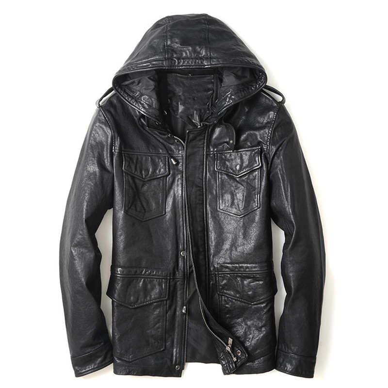 2017 New Men Black Hooded Leather Jacket Stand Collar Real Sheepskin Plus Size XXXL Men Winter Coat Factory Direct FREE SHIPPING