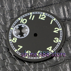 Watch accessories Parnis 38.9mm black sterial dial fit 6497 movement Watch dial Luminous green parts