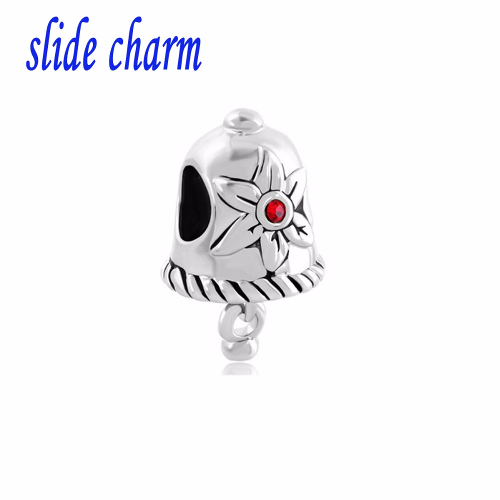slide charm Free shipping Christmas red crystal charm flower bell classic fashion charm beads fit Pandora charm bracelets