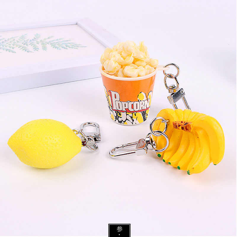 Cartoon Fashion Lovely Lemon Banana Popcorn Key Chain 1PC New Hot Key Ring PVC Fruit Keychain Unisex Car Bag Gift Keyring