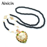 High Quality Fashion Women 28 Bead Sweater Chain Jewelry Indian Ganesh With Zircon Setting Gold Plated