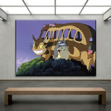 Catbus And Totoro Pictures Home Decorative Canvas Print Type 1 Piece Cartoon Movie My Neighbor Poster For Kids Room Wall
