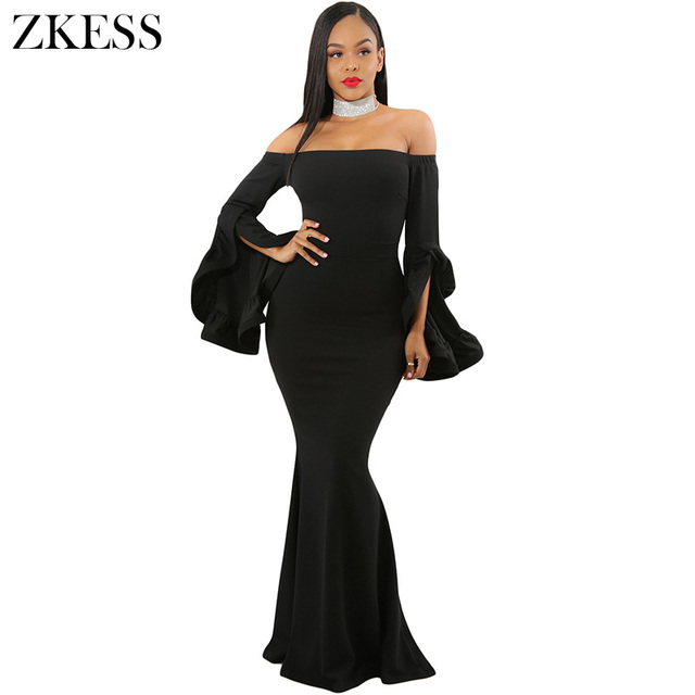 Zkess Women Sexy Off Shoulder Ruffles Bell Sleeves Mermaid Dress Strapless  Party Evening Bodycon Maxi Dress Back Zipper LC61981 3d9181ff21e3