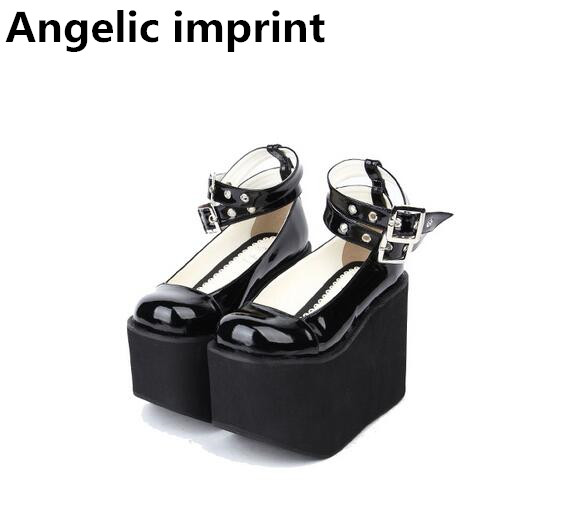 Angelic imprint mori girl lolita shoes woman cosplay shoes lady high trifle heels wedges pumps women