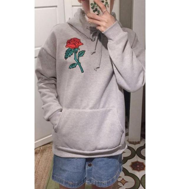 Rose Embroidery Sweatshirt Women Men Hoodies Pullover Black Grey Hoodie  Long Sleeve Hooded Jumper Pullover Top