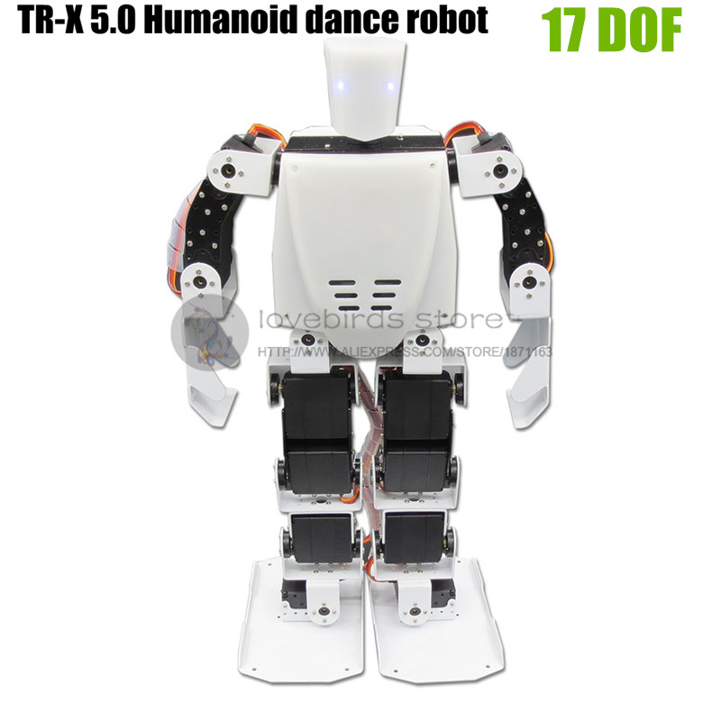 TR-X 5.0 17DOF Wireless remote control Humanoid dance robot with LED eyes Support MP3 player & WIFI expand new 17 degrees of freedom humanoid biped robot teaching and research biped robot platform model no electronic control system