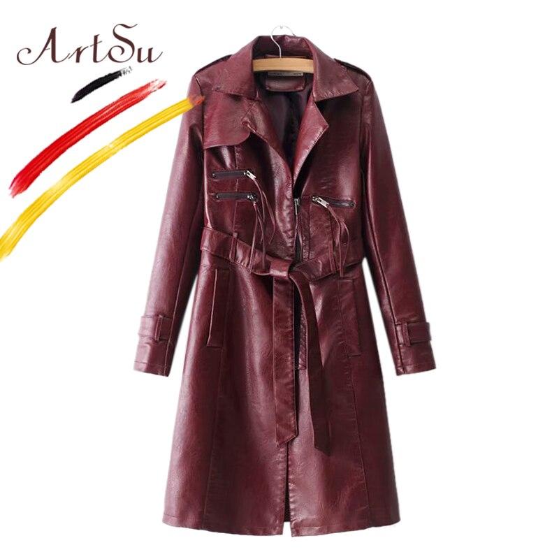 ArtSu 2018 Winter Faux PU Leather   Trench   Coat Casaco Feminino Women Warm Turn-Down Collar Burgundy Black Long Coat Windbreaker