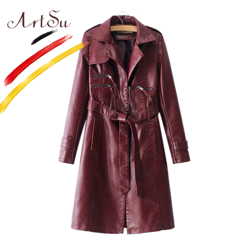 ArtSu 2018 Winter Faux PU Leather Trench Coat Casaco Feminino Women Warm Turn Down Collar Burgundy Black Long Coat Windbreaker