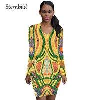 STERNBILD Dashiki Africano Étnico Festiva Auspicioso Vestido Delgado Mujeres Del Verano Impresión de La Vendimia Vestidos del Lápiz Del O-cuello Manga Larga Vestido