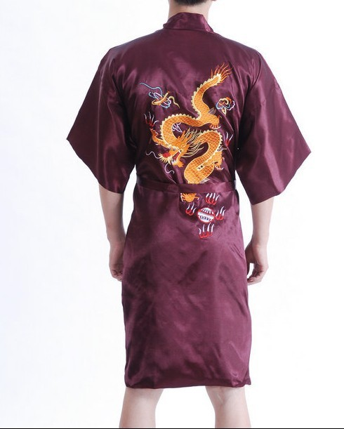 Borgonha homens chinês de seda Sleepwear bordado banho novidade Kimono vestido sml XL XXL XXXL MR036