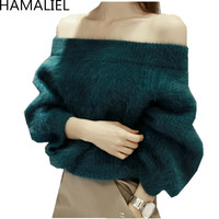 HAMALIEL High Quality Mink Cashmere Women Sweater 2018 Winter Sexy Off Shoulder Knitted Slash Neck Thick Pullover Jumper Tops