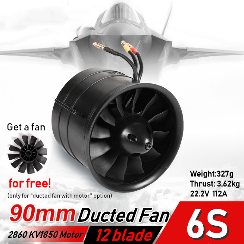 FMS 90mm Ducted Fan Jet EDF 12 blade With 3546 KV1900 Motor Engine Power 6S For RC Airplane Model Plane Car Aircraft Spare Parts image