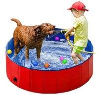 Красная Прочная ПВХ Складная портативная складная ванна для собак деревянная Нижняя купальная Ванна пруд для собак бассейн, Детская ванна ...