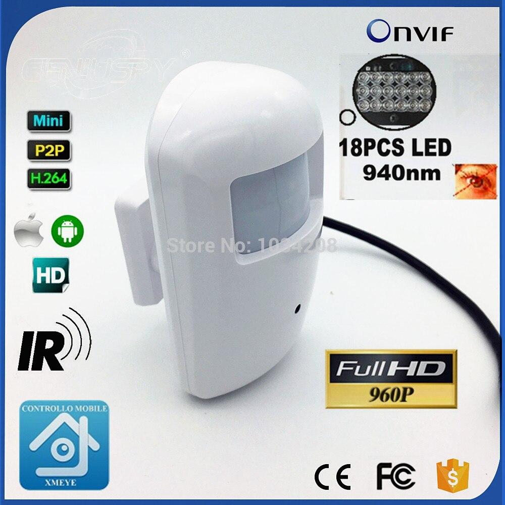PIR Тип Мини HD 960 P IP Камера 18 светодиодный 940nm ИК Крытый безопасности 1.3MP Камера ONVIF Ночное видение P2P CCTV Камера