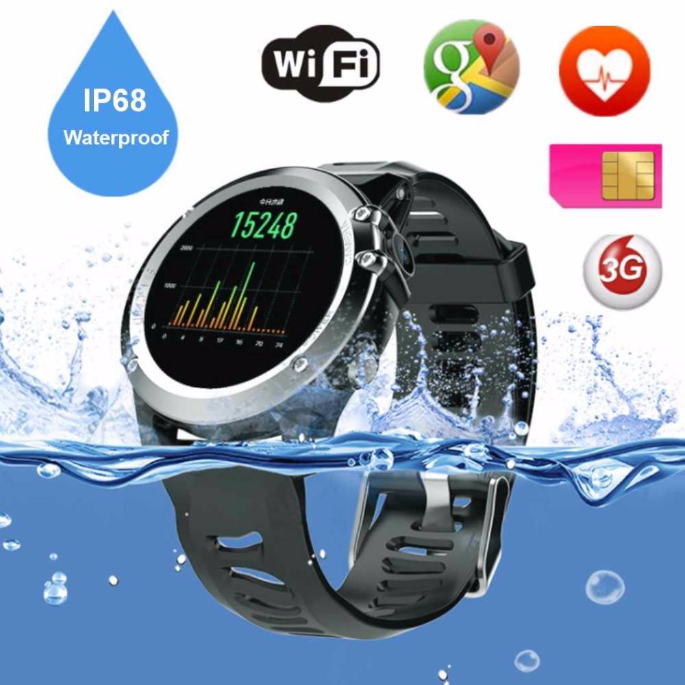 Slimy IP68 swimming 3G Smart Watch Phone 1.39 inch 400*400 Android OS Support SIM Card Bluetooth WIFI GPS Heart Rate Smartwatch